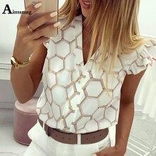 Aimsnug Elegant Geometric Print OL Leisure Blouse Women Summer Wear Female Stylish Fashion Top V-Neck Button Ruffle Casual Shirt