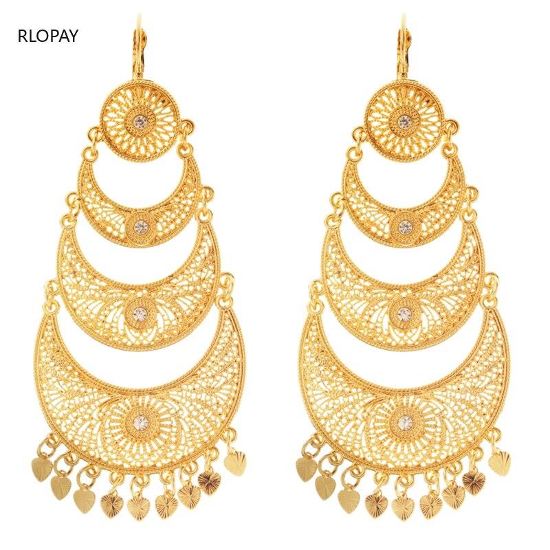 Algeria Bridal Earrings with Heart Shape Tassels Luxury Gold Earrings Hook Dangling Earrings Golden Long Earrings