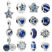 2Pcs Lot Shining Blue Moon amp Star Aircraft Charms Beads Pendant fit Pandora Bracelets Necklaces Women DIY Jewelry Accessories cheap BAOPON Zinc Alloy Metal Silver Plted Heart Shape Fashion Anniversary gift party wedding Princess-cut Silver Plated Girlfriend Fiancee Wife Lover Mother Daughter