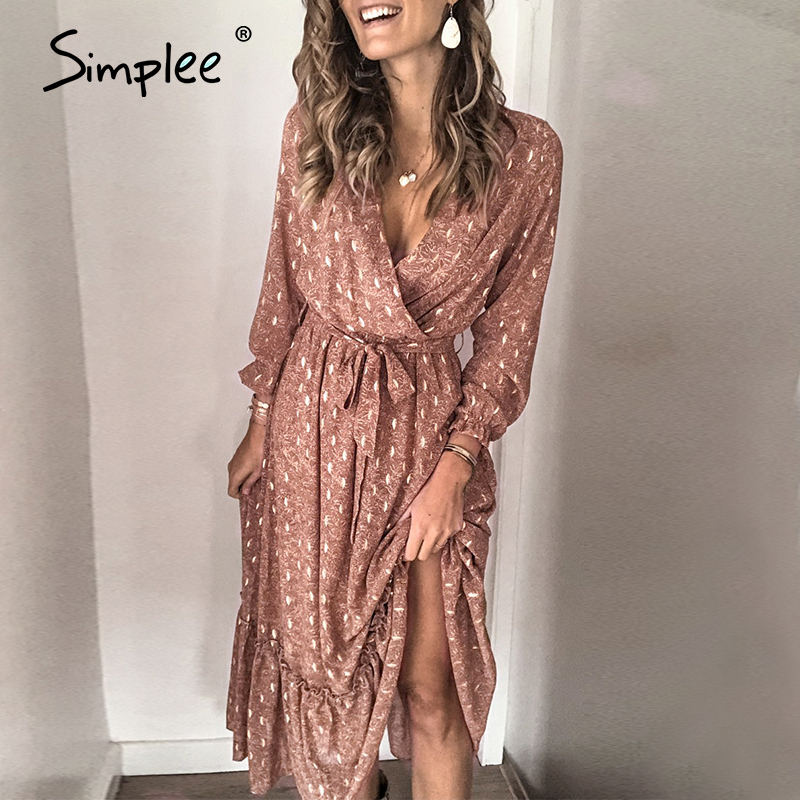 Simplee Sexy V-neck Printed Women Ruffled Dress Elegant Long Sleeve Pleated Office Work Sundress A-line Ladies Summer Maxi Dress