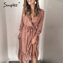 Simplee Sexy v neck printed women ruffled dress Elegant long sleeve pleated office work sundress A line ladies summer maxi dress