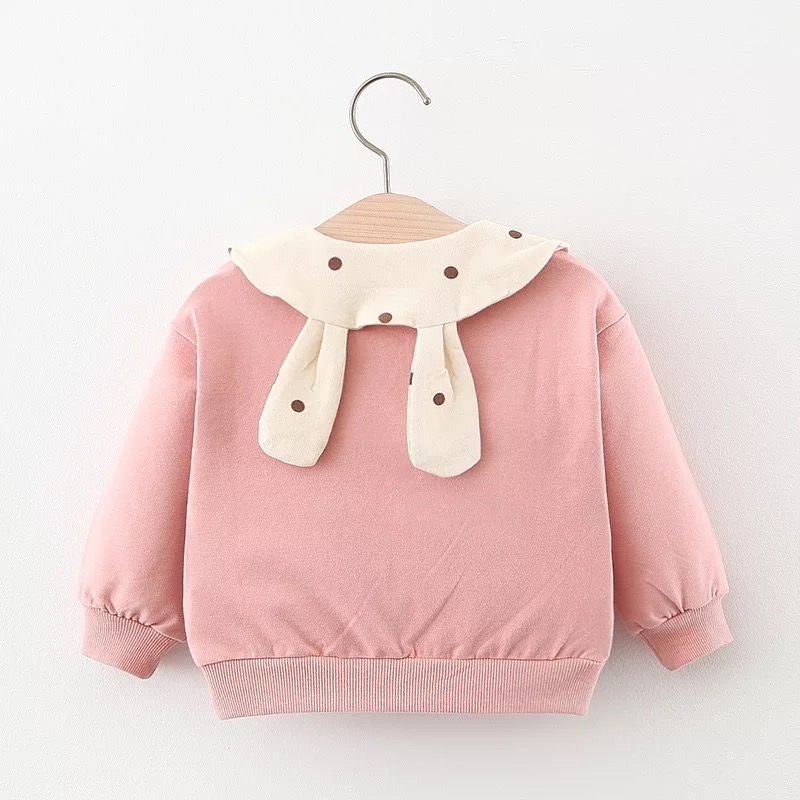 primavera outono bebe meninas sweatshirts algodao dot manga comprida hoodies bebe menina camiseta roupas do bebe