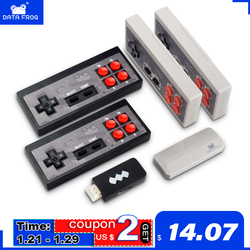 Data Frog Video Game Console USB 8 Bit TV Wireless Handheld Mini Game Console Build In 600 Classic Dual Gamepads HD/AV Output