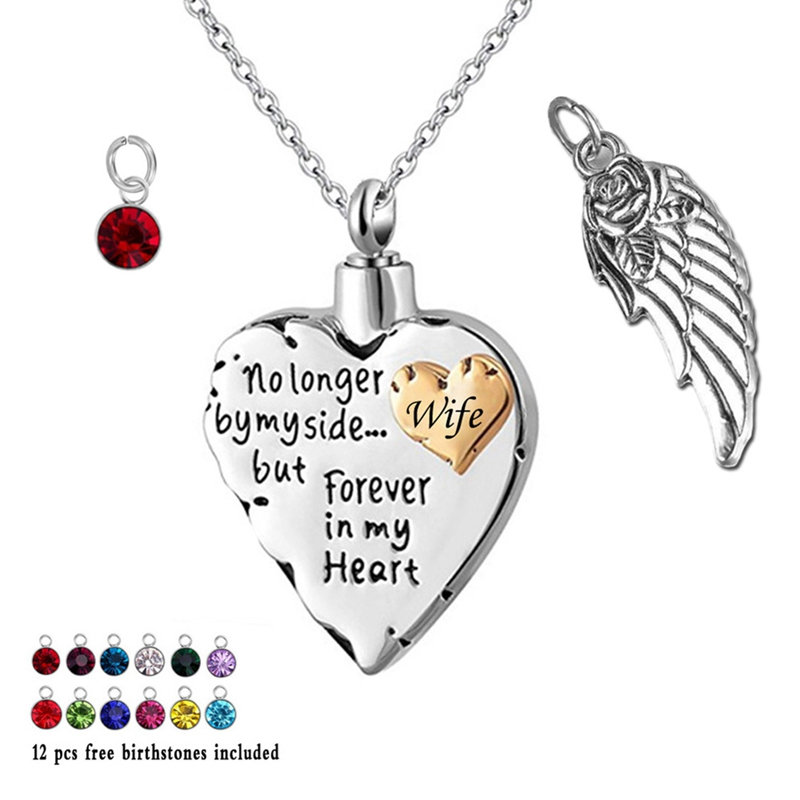 Heart Cremation Necklace for Ashes with 12 Birthstones Urn Necklace for Ashes-No Longer by My Side, But Forever in My Heart