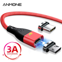ANMONE USB Tipo C Cavo Micro USB di Ricarica Rapida Magnetica Cavo di 1m 2m Indicatore LED di Sincronizzazione di Dati del Magnete cavo di ricarica per il Telefono Mobile