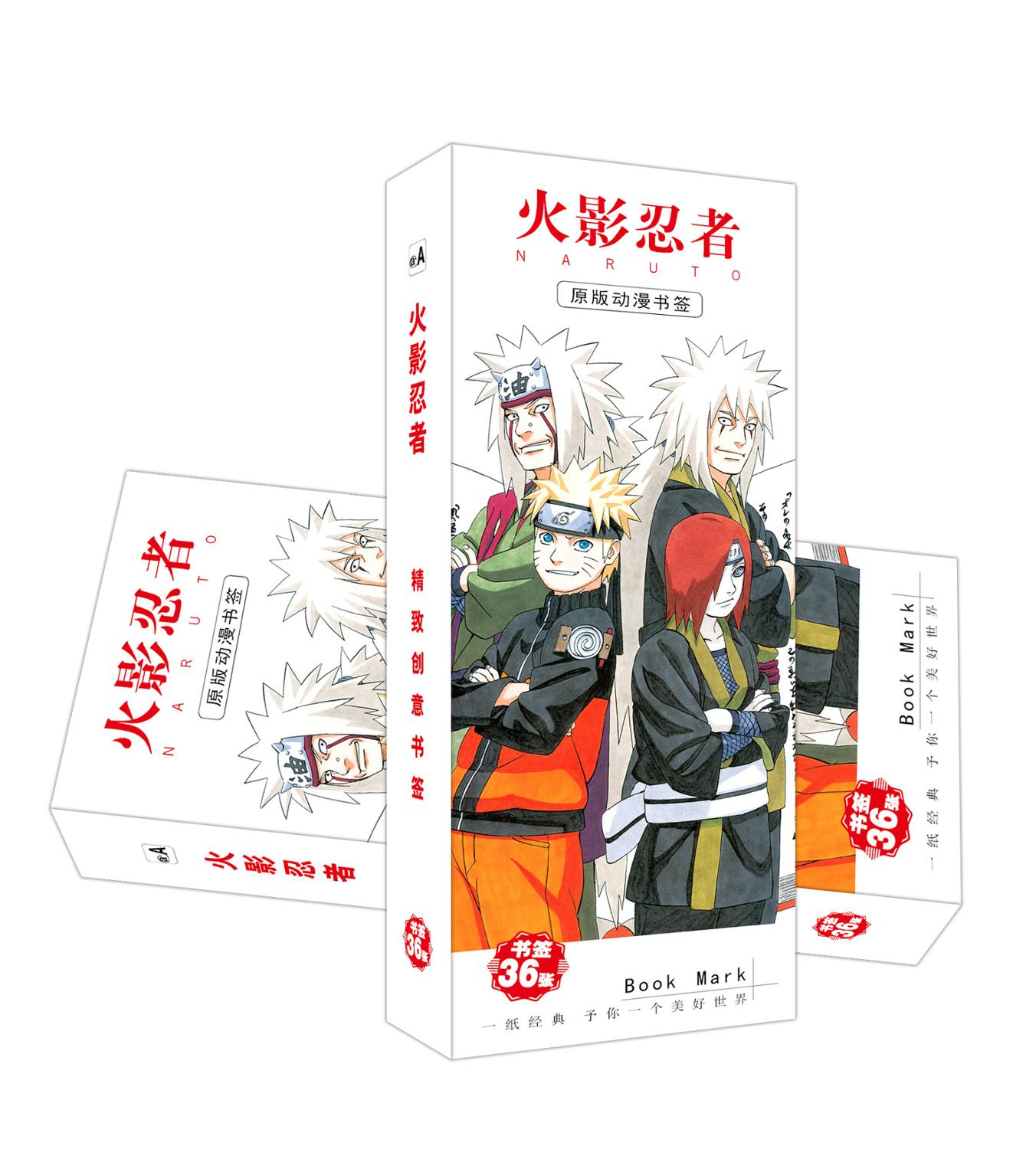 36 Pcs/Set New Arrived Naruto Anime Paper Bookmark Stationery Bookmarks Book Holder Message Card Gift Stationery