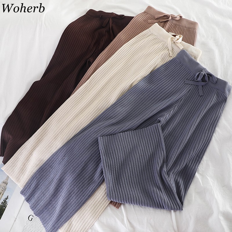 Woherb Women Knitted Wide Leg Pants New Warm Fashion 2020 Autumn Winter Trousers Elastic High Waist Ankle-length Pant Korean