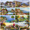 House Trees Landscape Paintings Printed On Canvas 1