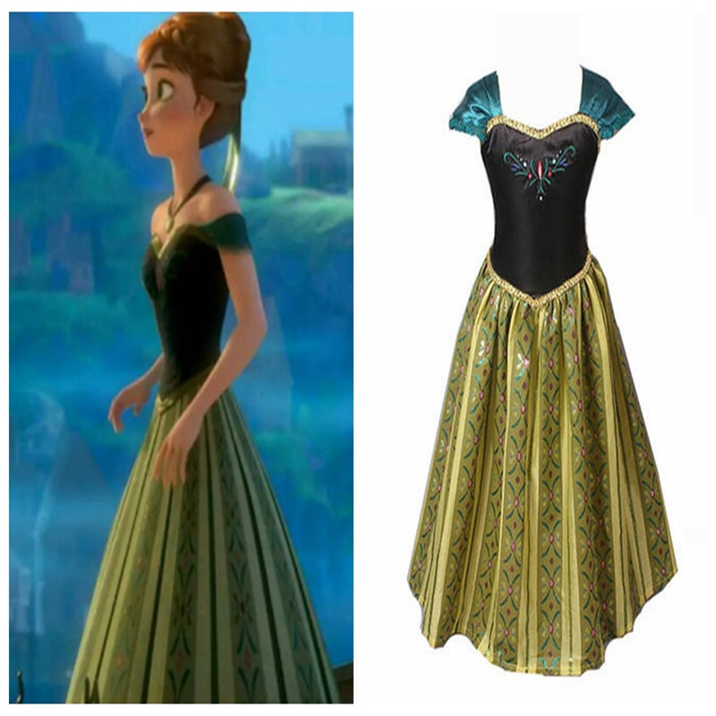 New <font><b>Frozen</b></font> <font><b>2</b></font> cosplay <font><b>Anna</b></font> Princess Adult women cotton Embroidery print dress Anime character party costume <font><b>Wig</b></font> props image
