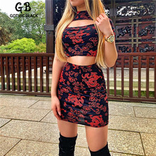 Gothblack Women O-Neck Short Sleeve Crop Tops And Skirt 2 Piece Set Female Dragon Printing  Bodycon Hollow Out Top And Skirt Set