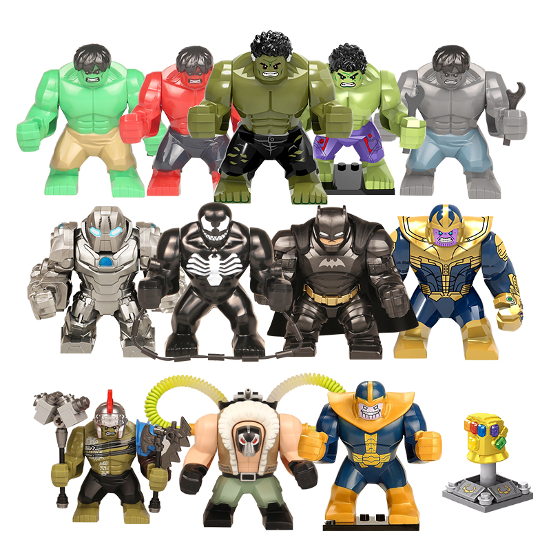 1pcs Action Figure LegoINGly Super Hero Avengers Captain Marvel Ant Man Wasp Big Size Building Block Hulk Grot Toys For Children