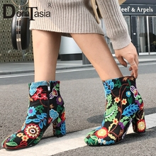 DORATASIA Brand New Big Size 33-43 Ankle Boots Women 2019 Embroider Ladies High Heels Shoes Woman Casual Autumn Winter