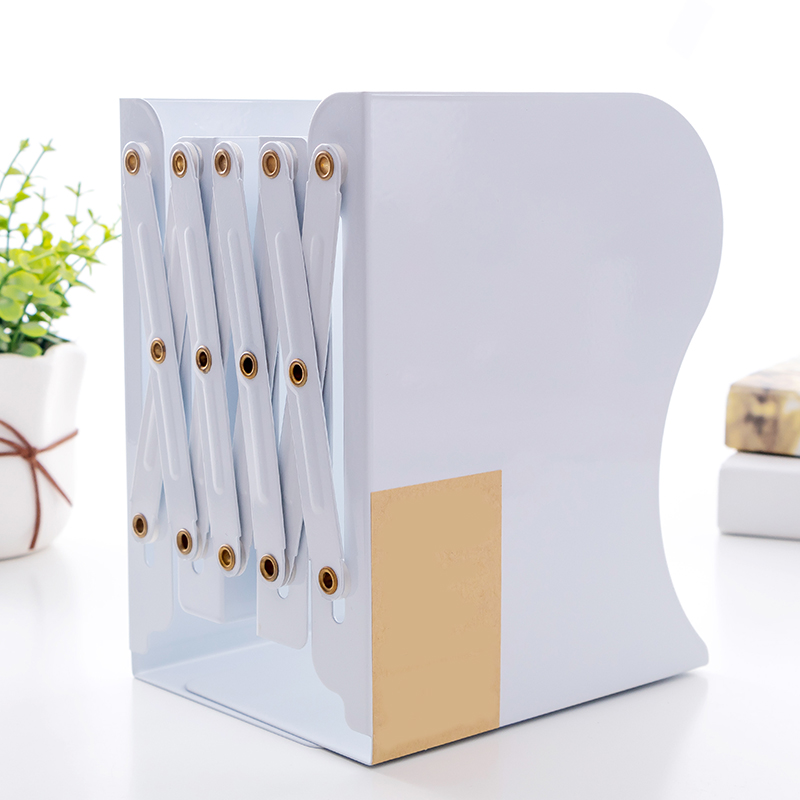 Creative Telescopic Folding Bookshelf Metal Appearance Bookshelf Office Cartoon Student Storage Stationery