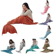 CAMMITEVER 2Sizes Mermaid Tail Blanket Yarn Knitted Handmade Crochet Mermaid Blanket Kids Throw Bed Wrap Super Soft Sleeping Bed super soft kintted sofa bed wrap mermaid blanket