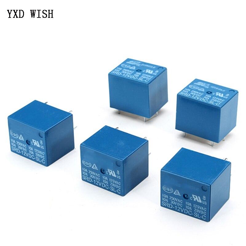 5pcs Relays SRD-05VDC-SL-C SRD-12VDC-SL-C SRD-24VDC-SL-C SRD-48VDC-SL-C 5 Pin DC 5V 12V 24V 48V 10A 250VAC 5PIN Power Relays