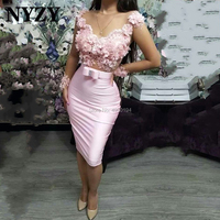 NYZY C266 Robe Cocktail Dresses 2020 Rosettes Long Sleeves Formal Dress Party Homecoming vestido coctel