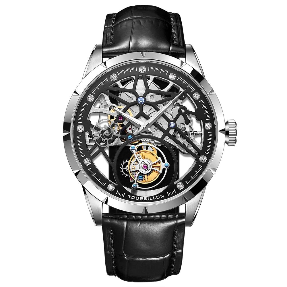 Super New Model GUANQIN Original Tourbillon business men watch top brand luxury Skeleton Sapphire  clock men Relogio Masculino 8