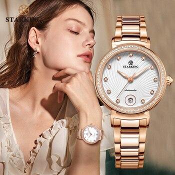 Женские наручные часы STARKING, наручные часы золотого цвета из нержавеющей стали, автоматические механические водонепроницаемые часы
