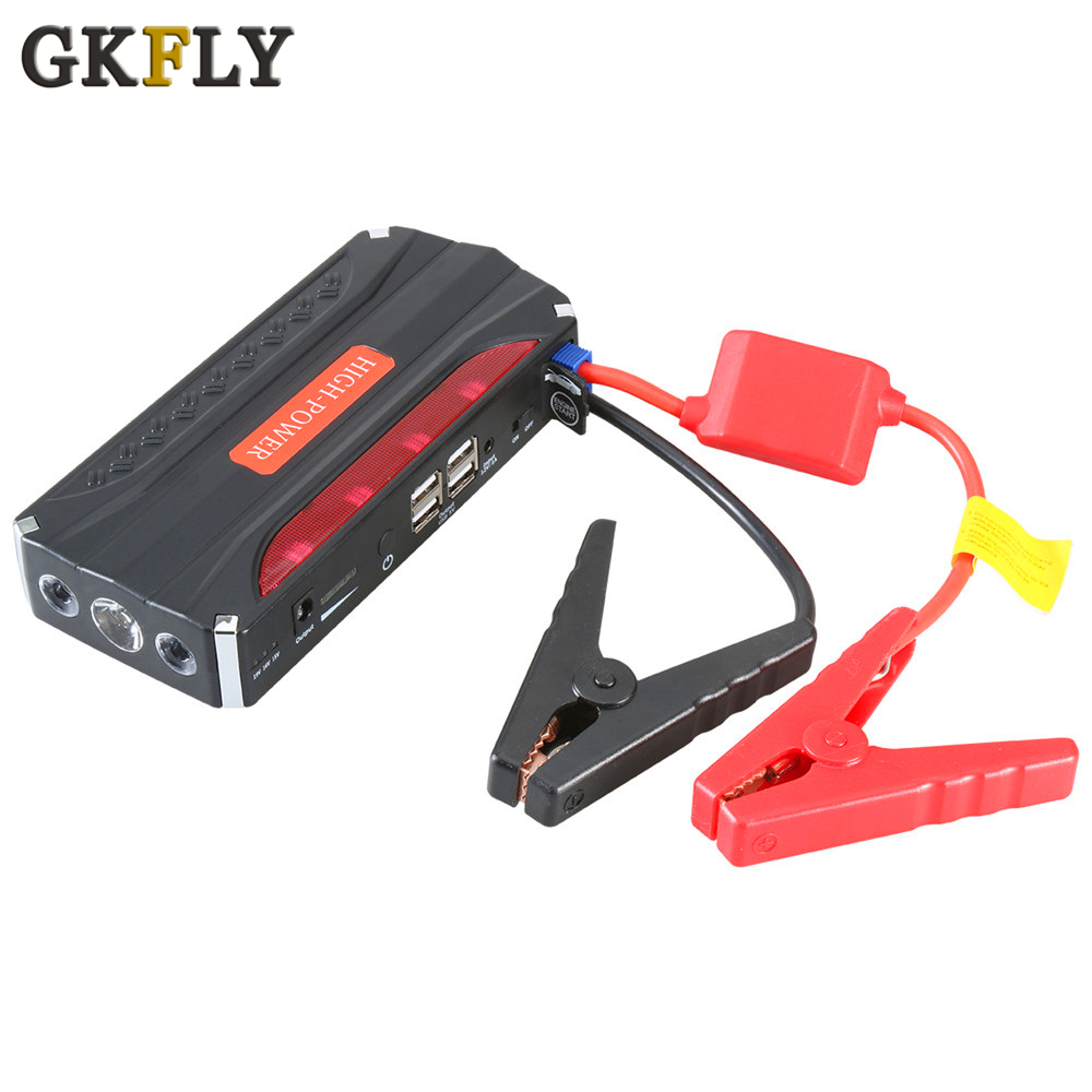 GKFLY 緊急車のジャンプスターター 12 12v ポータブル電源銀行バッテリ充電器ブースター開始ケーブルデバイスディーゼルガソリン自動 LED