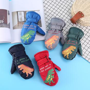 Rękawice narciarskie dla dzieci kreskówki dla dzieci zimowe ciepłe snowboard rękawice na śnieg rękawiczki dziecięce wodoodporne narciarstwo na skuter śnieżny i snowboard rękawice tanie i dobre opinie 1992 Poliester