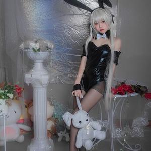 Image 3 - Костюм для косплея аниме зайчик, Милое сексуальное белье, костюм зайчика для женщин, черный костюм из искусственной кожи, комбинезоны, сексуальные костюмы на Хэллоуин