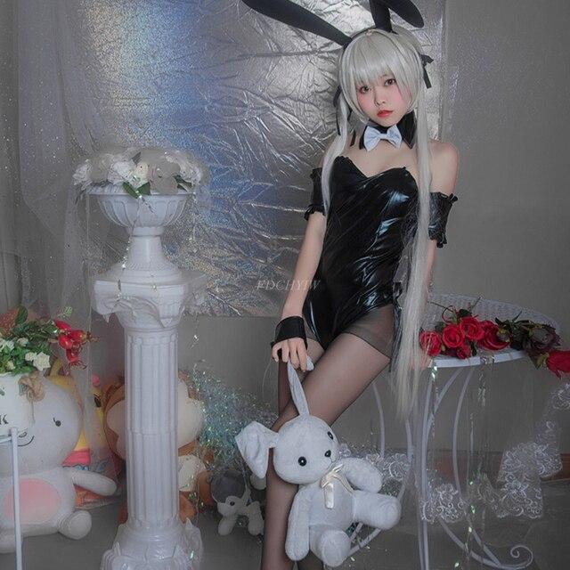 Anime Bunny Cosplay Kostüme Cute Sexy Dessous Bunny Anzug für Frauen Schwarz PU Leder Anzug Overalls Sexy Halloween Kostüme