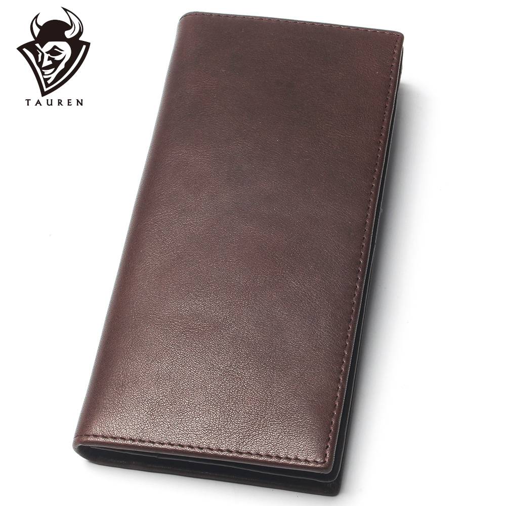 Mens Pure Color Wallet Oil Leather Crazy Horse 100% Genuine Leather Purse Top Grade Soft Long Wallet Branded Coin Purse For Men