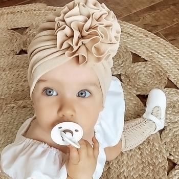 Piękny kwiat czapka dla niemowląt miękka dziewczynka kapelusz Turban wiosna niemowlę maluch noworodka czapka dziecięca Bonnet Headwraps czapka dla dzieci czapki tanie i dobre opinie I LOVE DAD CN (pochodzenie) W wieku 0-6m 7-12m POLIESTER Akrylowe Dopasowana Unisex Stałe baby Dzieci w wieku 4-6 miesięcy