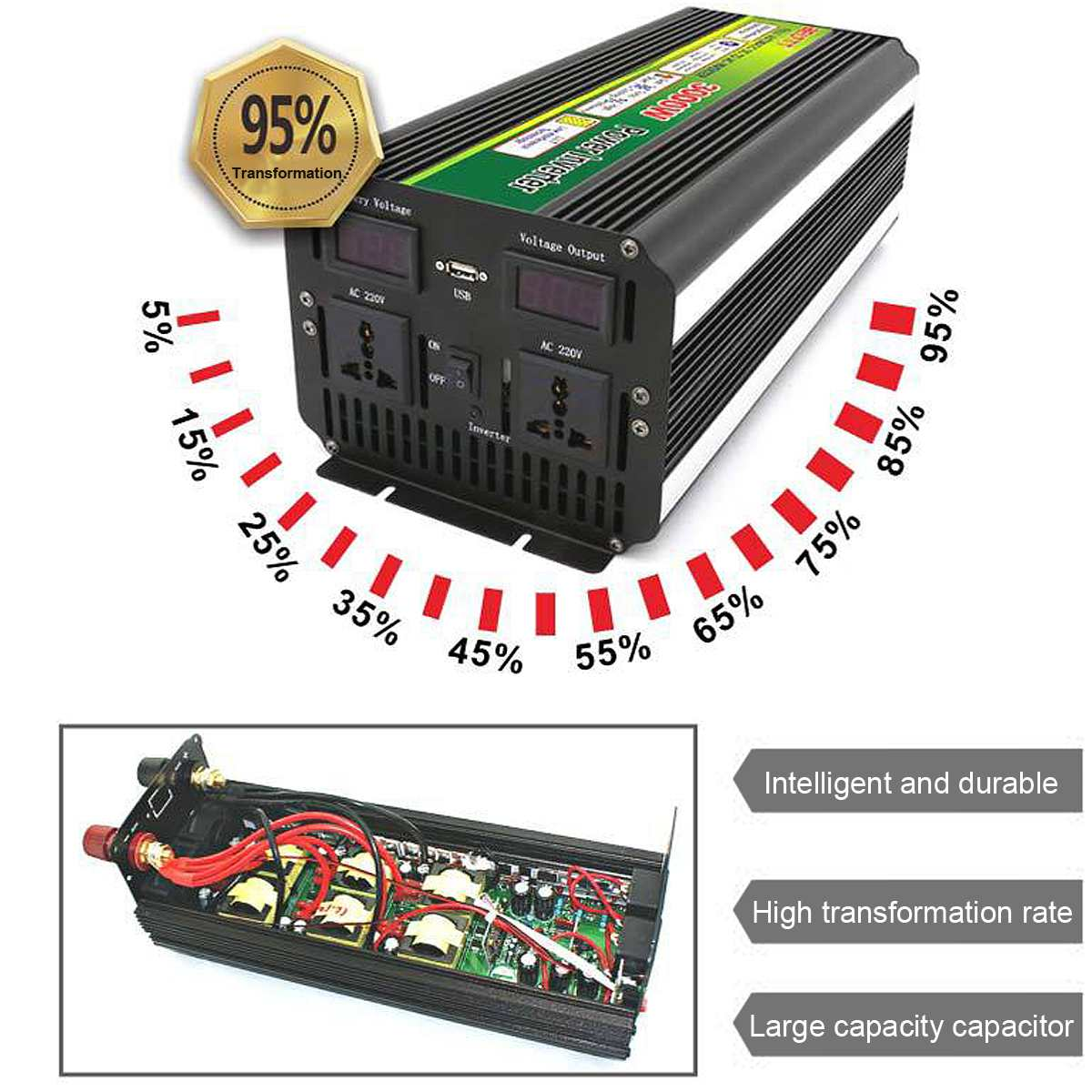 Hot Sale 3000W 6000W Max DC 12V 24V to 220V Power Inverter for Solar/Wind with LCD Digital Display