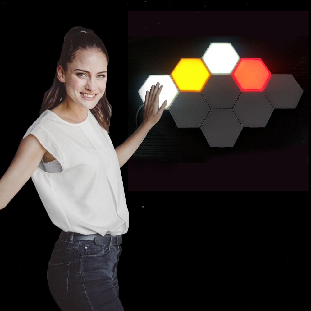RGB Quantum Lamp Led Touch Wall Lamps Magnetic Hexagonal Modular Sensor Night Light Creative Diy Decoration Lighting