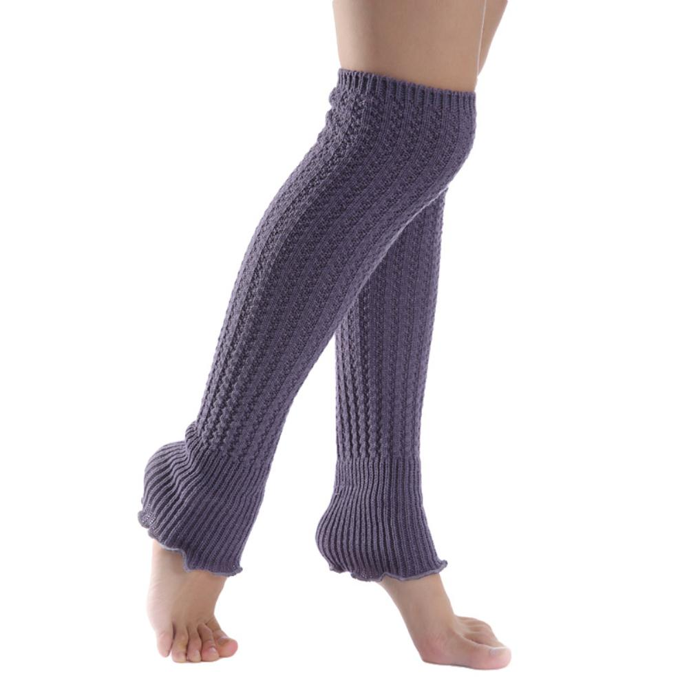 Fashion Women Solid Color Knee High Knitted Leg Warmers Pleated Long Yoga Socks