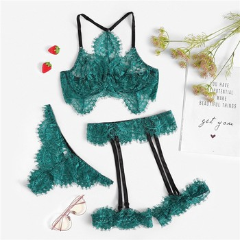 Women Bra Brief Set Bras Eyelash Green Lace Garter Floral Intimates Sexy Lingerie Set Underwear Transparent Underwire Bra Set 2019 new lace bra set plus size sexy padded bras women bra sets floral push up underwire bras underwear women lingerie set