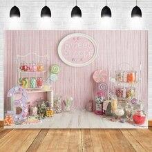 LaeaccoสีชมพูหวานShoppeเด็กทารก3rdวันเกิดการถ่ายภาพฉากหลังสาวCandy Party Photocallภาพพื้นหลังPhoto Studio