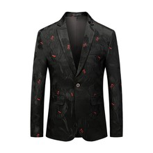 Mens Casual Business Wedding Long Sleeve Print Floral Suit Coat Jacket chaqueta de vestir hombre dropshiping W902