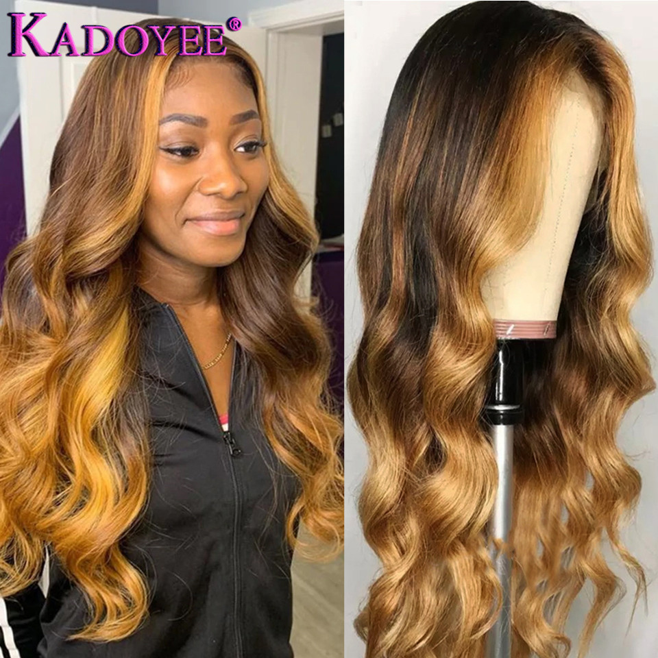 Honey Blonde Lace Front Wig Body Wave Wig With Highlight Ombre Human Hair Wig Malaysia Remy Hair 13x4 Front Lace Wig Preplucked
