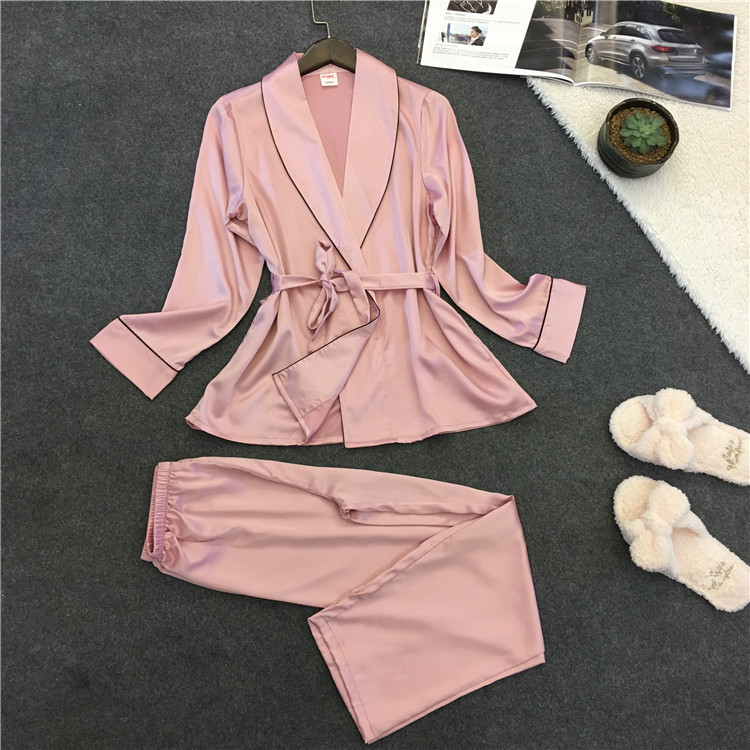 2019 Sleep Lounge Satin Sleepwear Slik Women Pajamas Set Elegant Pyjamas Spring Autumn Nightwear Ladies Homewear Nightsuits