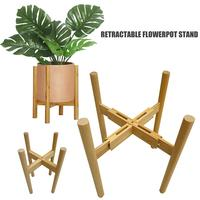 Retractable Bamboo Flower Pot Stand Floor Vase Plant Stand Bonsai Holder Garden Pottery Planters Modern Flower Pots Rack