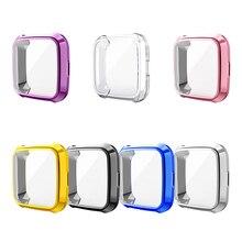 עבור Fitbit Versa לייט מקרה שעון חיוג פגוש מקרה Electroplated TPU שעון מסגרת מגן עבור Fitbit Versa לייט מסך כיסוי