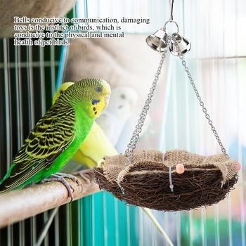 Parrot Hanging Rest Nest Basket Cage Birds Toy With Bell Bite Pet Cockatiel Parakeet Funny Stand Rest Perch Swing 5 5
