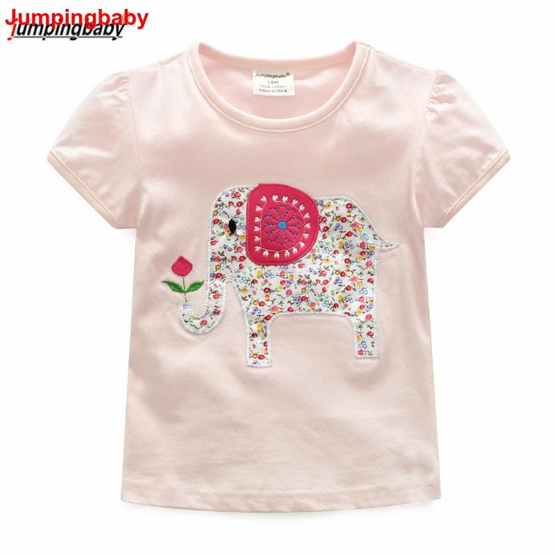 Jumingbaby 2019 Girls T Shirt Kids T-shirt Animal Embroidery Summer Tops Costumes Vetement Enfant Fille Toddler Girl Clothes