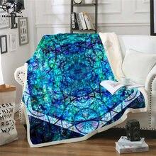Флисовое одеяло hexa m8 плюшевое 3d с принтом для взрослых дивана