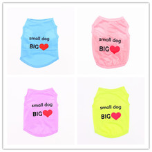 Small Dog BIG Love Pattern Funny Dog Clothes for French Bulldog Designer Teddy Bear Dog Clothes Summer Puppy Clothes Pet Vests
