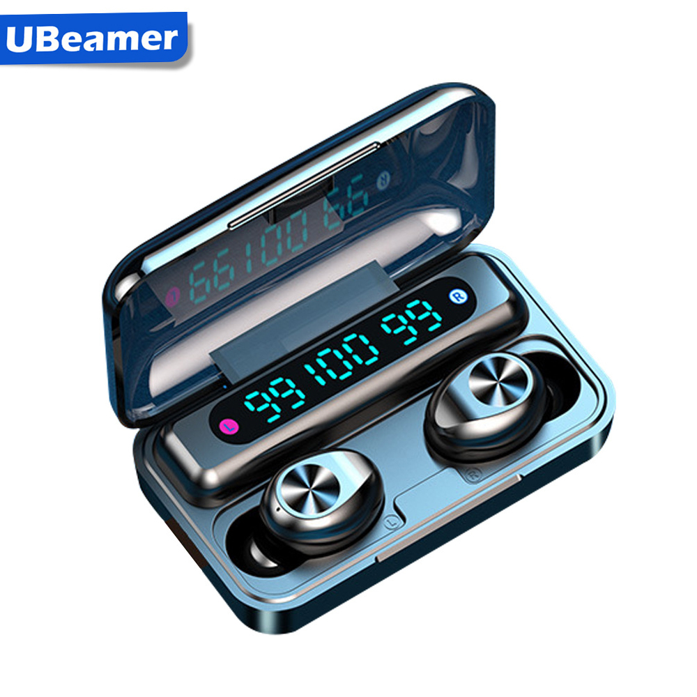 Ubeamer Bluetooth Earphones Wireless Headphones With Microphone f9 Sports Waterproof Headset 2200mAh Charging Box For iPhone
