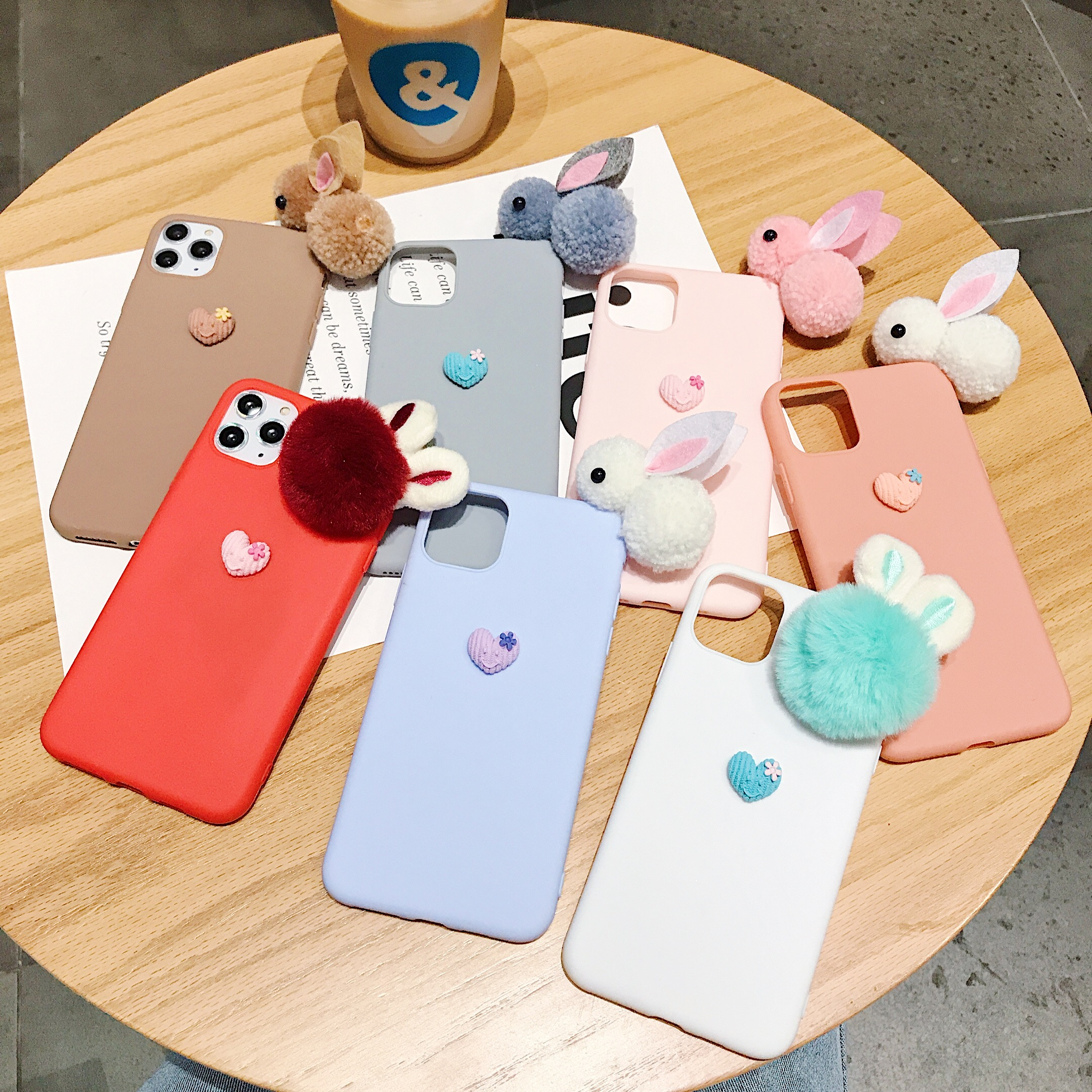 Cute TPU Soft <font><b>Case</b></font> For <font><b>OnePlus</b></font> 5 5T <font><b>6</b></font> 6T New <font><b>3D</b></font> Cartoon Rabbit Plush Doll <font><b>Case</b></font> For <font><b>OnePlus</b></font> 7 7T Pro Candy Color Phone <font><b>Case</b></font> image