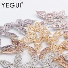 Jewelry-Accessories Zircon Pendant Butterfly-Shape YEGUI Diy Earrings Microns Gold-Plated
