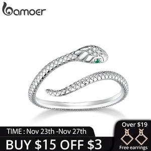 bamoer Genuine 925 Sterling Silver Snake Size Open Adjustable Finger Rings for Women Statement Wedding Jewelry SCR666