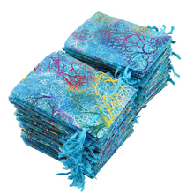 wholesale 100pcs 7x9 9x12 Coral Bronzing Organza Bags White&Colorful Jewelry Packaging Wedding Gift bags Pouches
