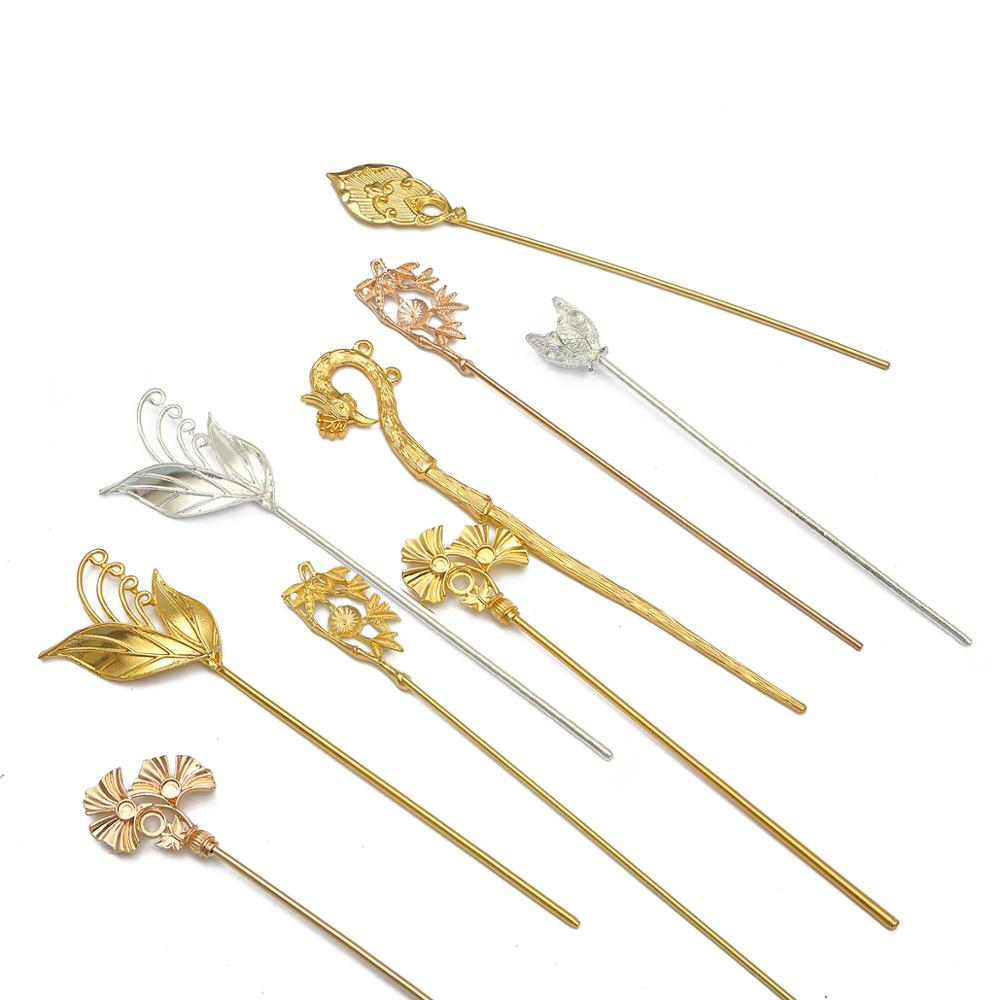 1 pcs Multistyle Vintage Filigree Carved Flower leaves Hair Comb Sticks Hairpin Blank Base Settings For DIY Jewelry Making Decor