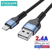 QGeeM Cable USB certificado MFi para iPhone 12 Mini Pro Max XS X XR 11 8 7 6 Plus 2.4A Cable Lightning de carga rápida Cable de datos USB para teléfono móvil para iPhone Cable de cargador de Apple Cable iPhone