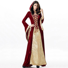 Halloween Adult Queen Cosplay Costume Women European Palace Empress Hooded Dress Fancy Performance Party Red Long Dresses Girl